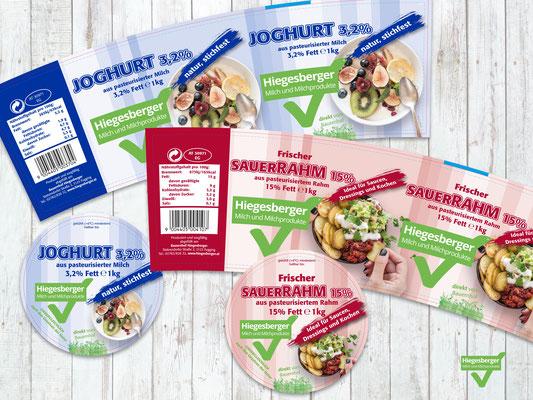 Hiegesberger - 1kg Eimer Joghurt 3,2% - 1kg Eimer Sauerrahm 15% - Grafikstudio Raster und Punkt - Johannes Loibenböck