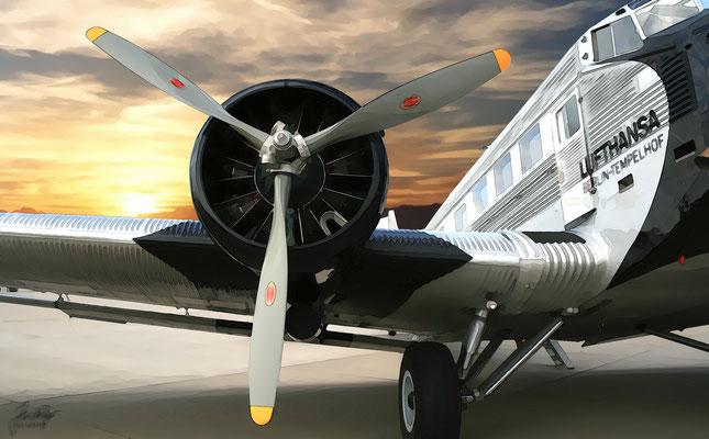 Ju-52, Seitenansicht mit Triebwerk