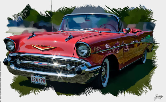 Chevrolet Bel Air Convertible, 1957, based on a photo by Bob P.B. who licensed it CC BY 2.0