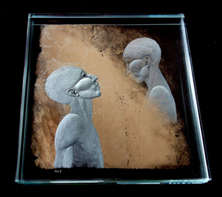 'memory cloud 2' reverse engraved glass with white gold leaf. 12x12cm. nancy sutcliffe glass engraver