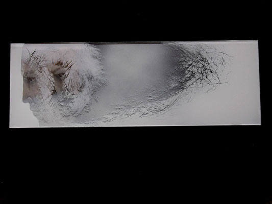 'winter' engraved glass, pain, white gold leaf. 30x12cms wall art