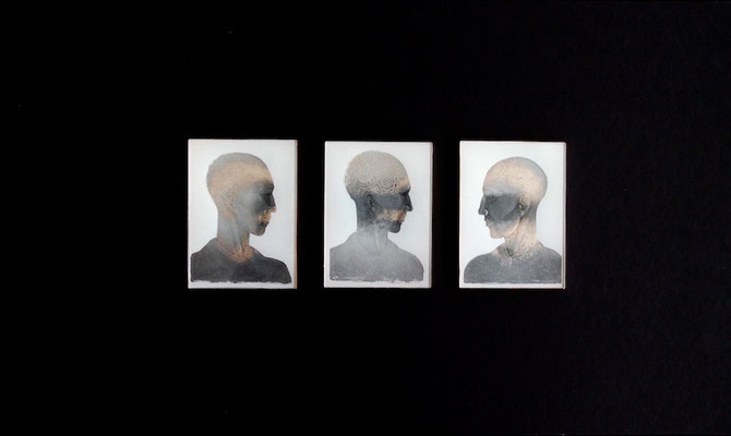'fresco boys' reverse glass engraving, painted, gilded. glass size 10x7.5cms each portrait. wall mounted.
