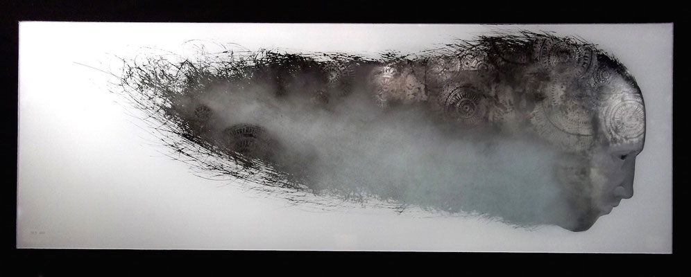 'insomnia' engraved glass, paint, palladium leaf. framed wall art 70x24cms