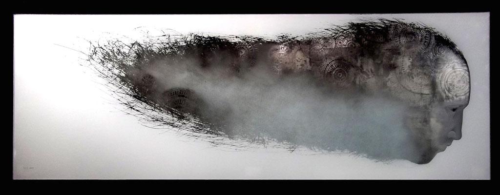 'insomnia'. verre eglomisé, engraving. 70x24cms