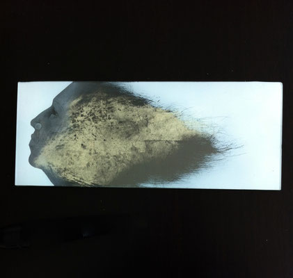 'shine' reverse engraved glass, gold leaf, paint. 30 x 12 cms.