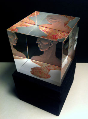 'introvert 1' engraved gilded optical crystal cube. pink silver leaf 8cms
