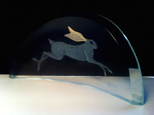 'gilded hare' engraved, with moon gold leaf 20cms wide
