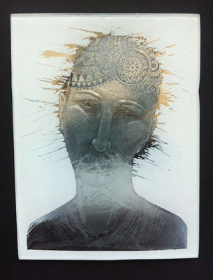 'icon' reverse glass engraving, painted, gilded.  10x7.5cms