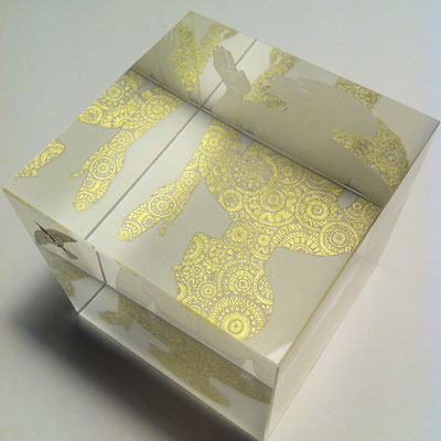 'introvert 3',lemon gold leaf engraved optical crystal cube 8cms