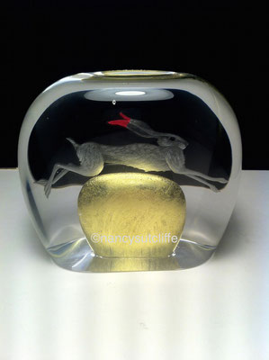'hare over the moon'  engraved glasma glass (blown by simon eccles) lemon gold and pink silver leaf
