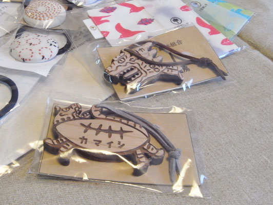 釜石地方森林組合さんの「虎舞キーホルダー」は「虎舞」と「虎舞ラガー」の2種類、それぞれ大小あります。縁起物に良いかも。