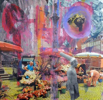 schönes Deutschland - übermalte Collage, ca. 20x30cm, 2017 – 2018