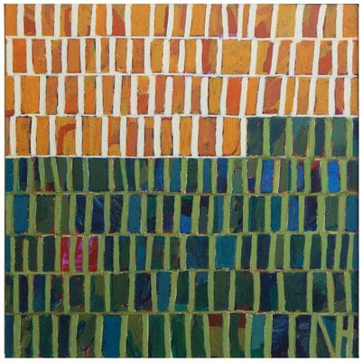 reihung grünocker - Acryl auf Leinwand, 60 x 60 cm, 2019