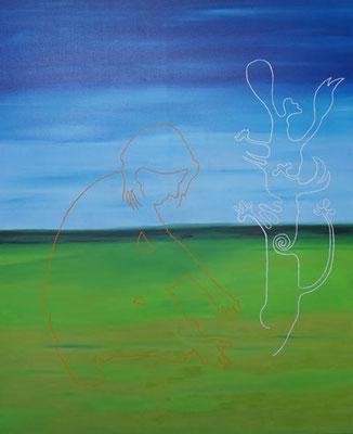 Doris und der Wunderbaum - Öl auf Leinwand, 120 x 100 cm, 2017