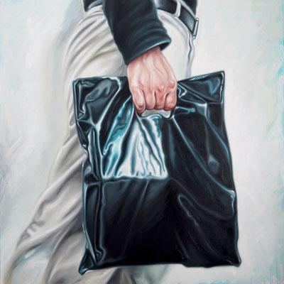 Mann mit schwarzer Tüte 3, 190 x 190 cm, Öl auf Leinwand, 2016