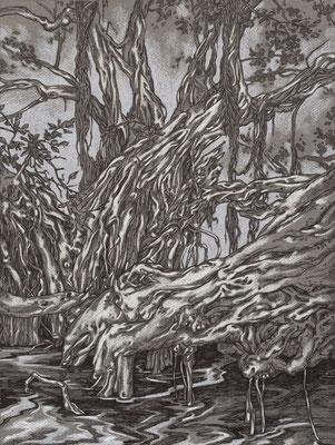 ohne Titel - Tusche und Pastell auf Papier, 30 x 40 cm, 2018
