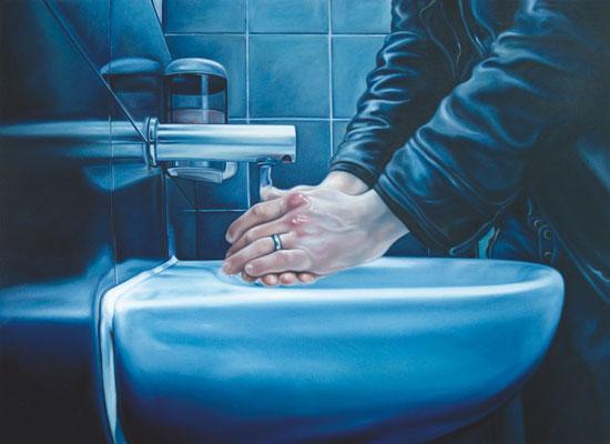 waschende Hände - Tate Modern, 160 x 220 cm, Öl auf Leinwand, 2010