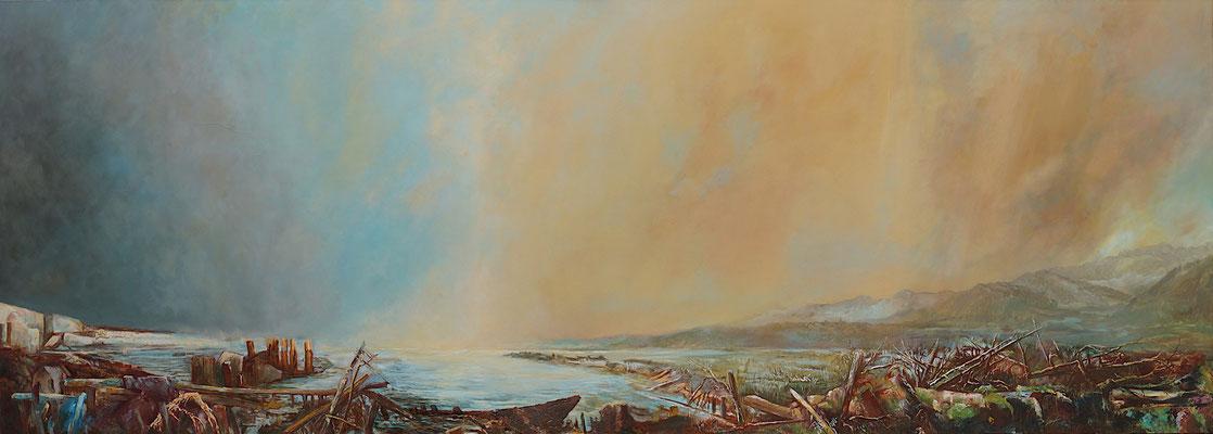 Lethe - Öl auf Leinwand, 90 x 250 cm, 2019