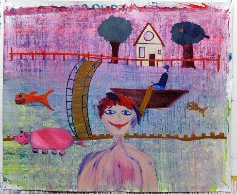 Kindsein I - Acryl auf Leinwand , 160 x 130cm, 2020