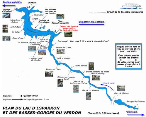Plan du lac d'Esparron de Verdon