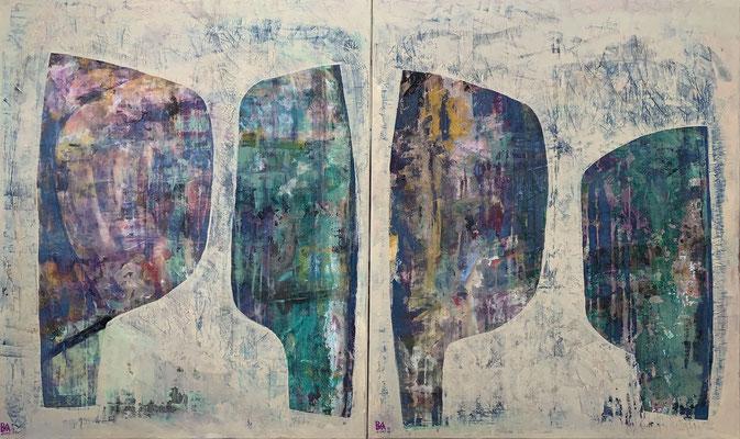 les enamorados (diptych - 100 x 120 cm - acrylic on linnen - 2019)