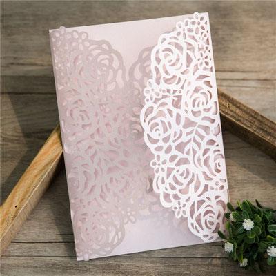 "Lasercut Karte ""Rosen"" #B0140, Standardfarbe Blush Shimmer"