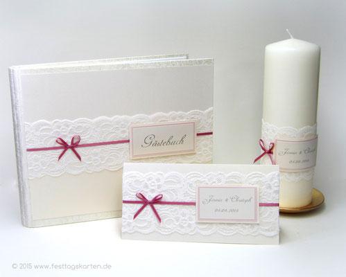 Hochzeits Set: Einladungskarte, Gästebuch und Traukerze, Spitzenband, Satinschleifchen