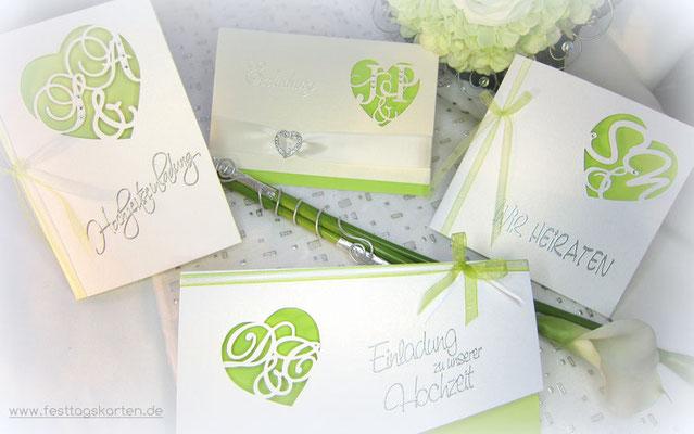Monogrammschnitt Set, bestehend aus Einladungskarte und Menükarte in Maigrün