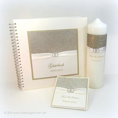 Hochzeits Set: Einladungskarte, Gästebuch und Traukerze, Glitter Gold, Satinband, Straßbrosche 28