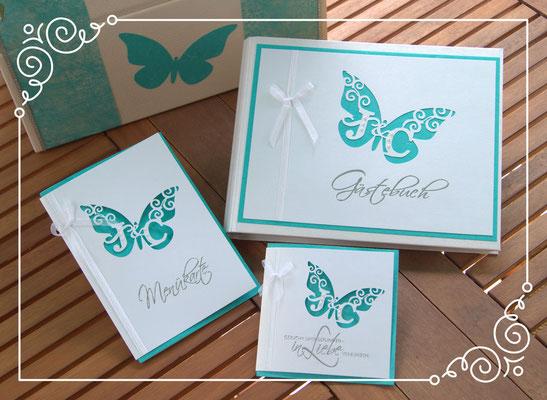 Monogrammschnitt Set, bestehend aus Einladungskarte, Menükarte, Gästebuch und Briefbox