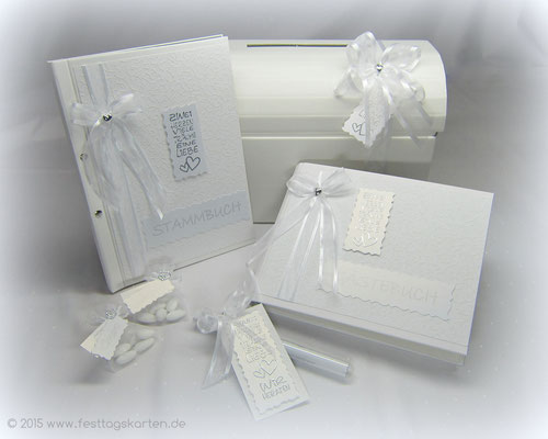 Hochzeits-Set: Einladung im Glasröhrchen, Gäste- und Stammbuch, Briefbox, Gastgeschenke: Hochzeitsmandeln. Embossing Stempeltechnik