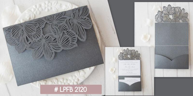 Lasercut Pocketfold Karte #LPFB2120, Grey Shimmer