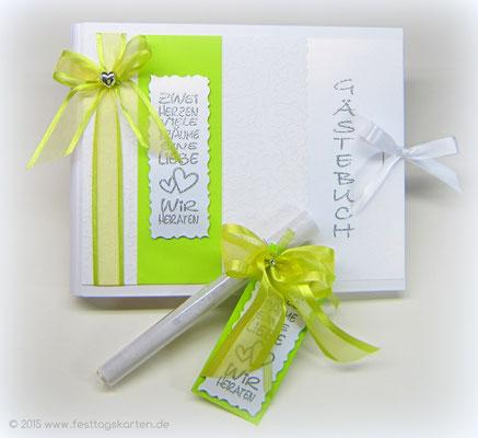 Hochzeits Set: Einladung im Glasröhrchen und Gästebuch. Embossing Stempeltechnik