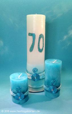 Kerze zum 70.ten Geburtstag mit passenden Tischkerzen, handgefertigt