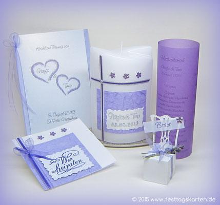 Hochzeits Set: Einladungskarte, Kirchenheft, Traukerze, Menü-Laternchen und Gastgeschenk