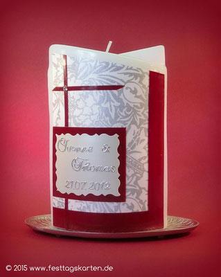 Hochzeitskerze, Straßsteinchen, Dekor Wachs, handgelegt