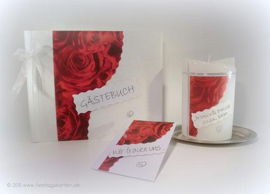 Hochzeits Set: Einladungskarte, Gästebuch und Traukerze, Rosendekor, Embossing Stempeltechnik