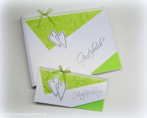 """Hochzeits Set """"Landhaus Herzen"""": Einladungskarte und Gästebuch. Embossing Stempeltechnik"""