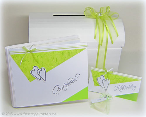 """Hochzeits Set """"Landhaus Herzen"""": Einladungskarte, Gästebuch, Briefbox und Gastgeschenk """"Hochzeitsmandeln"""". Embossing Stempeltechnik"""