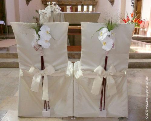 Ehrenplatz Brautpaar Weiße Orchideen