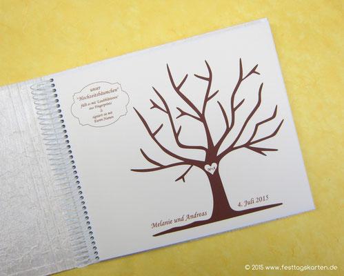 Wedding Tree im Gästebuch. Silhouette Schneidetechnik