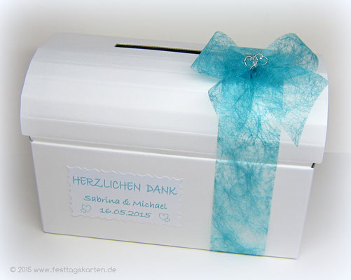 """Briefbox mit Schleife und Schild, """"Doppelherzen"""""""