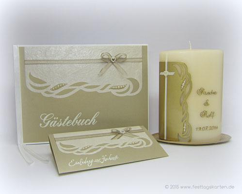 Hochzeits-Set: Einladungskarte, Gästebuch und Traukerze, Perlen. Silhouette Schneidetechnik