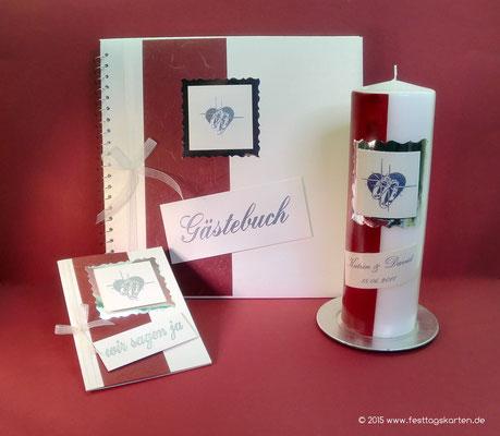 Hochzeits Set: Einladungskarte, Gästebuch und Traukerze, Embossing Stempeltechnik
