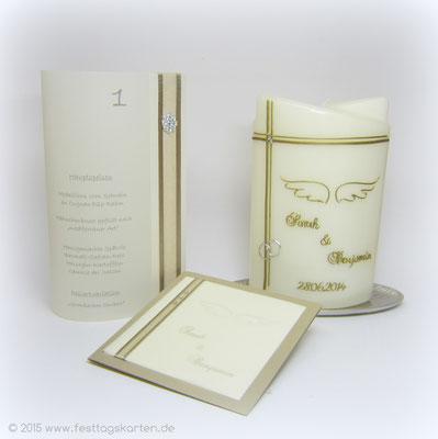 Hochzeit-Set: Einladungskarte, Traukerze und Menü-Laternchen