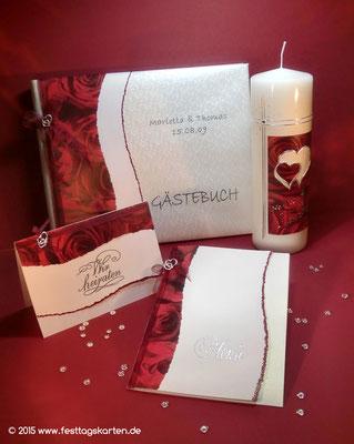 Hochzeits Set: Einladungskarte, Menükarte, Gästebuch und Traukerze, Rosendekor, Embossing Stempeltechnik