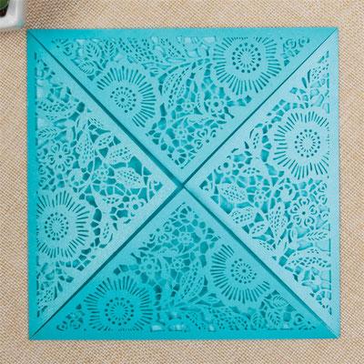 Lasercut Karte #A0013* in Sonderfarbe Türkis Shimmer