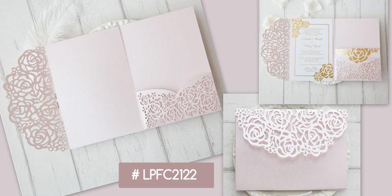 Lasercut Pocket Fold Karte #LPFC2122, Blush Shimmer