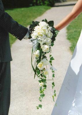 Brautstauß Creme-Grün (Seide)