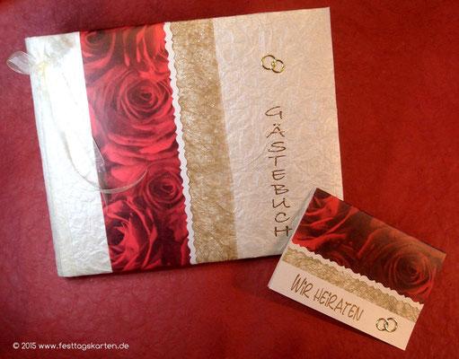 Hochzeits Set: Einladungskarte und Gästebuch, Rosendekor mit Glitterband, Embossing Stempeltechnik